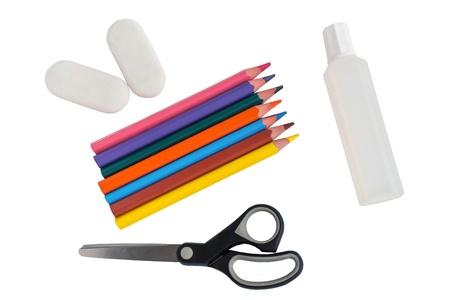 shool accessories, pencil, eraser, glue, scissors on a white background