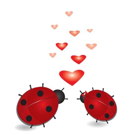 Lieveheersbeestje met harten, abstracte valentines achtergrond.