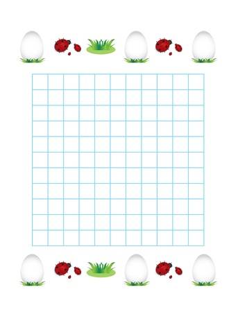 Sheet in a cage with ladybirds and eggs. Happy easter background. Stock Vector - 17334661