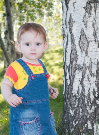 the little cute girl, standing a near birch tree photo