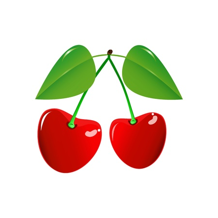 Two Cherry on a white background. Vector EPS10. Stock Vector - 17637937