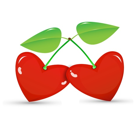 Two red cherries in a heart shape on white background Stock Vector - 17637936