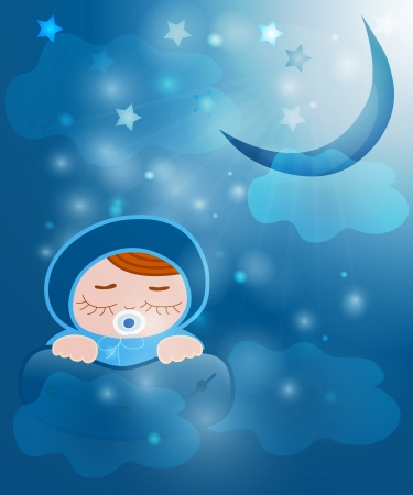 a baby sleeps on a pillow under the sun, and the stars in the sky and clouds Vector