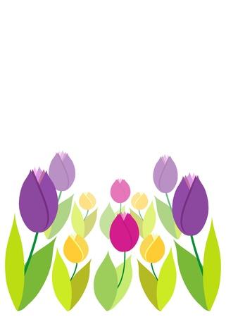 Tulips on green bokeh  Spring background  Illustration