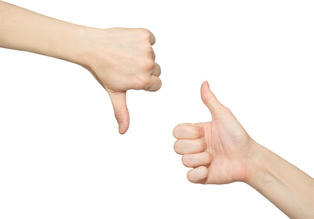 critique: Female thumb up hand and thumb down hand, on a white background Stock Photo