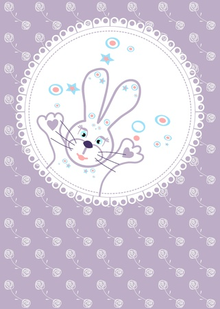 soft background for a birthday with roses and bunny Stock Vector - 18821835