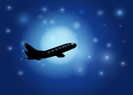 The aircraft silhouette on in the night sky and the moon background   Vector