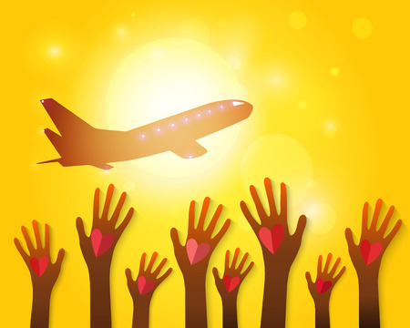 Hands waving airplane on a sunset background   Vector