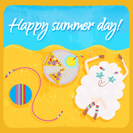 happy summer: Hippie sheep resting on the beach  Happy summer day