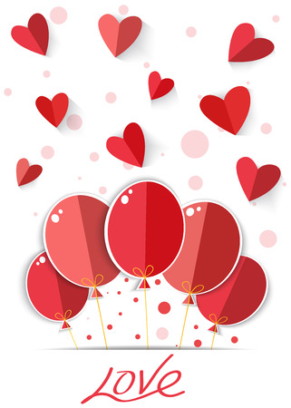 peper: Origami heart in red background  Vector EPS10