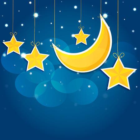 luna caricatura: Estrellas de la historieta en el cielo nocturno. Vector EPS10. Vectores