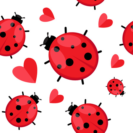 Seamless pattern with  ladybug isolated on white. Vector EPS 10.
