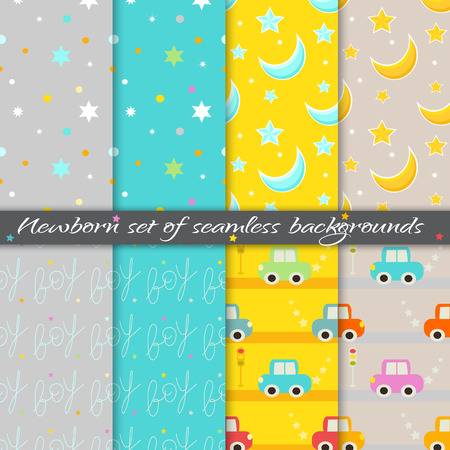 Newborn set of saemless background. Vector EPS10.
