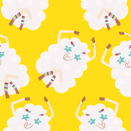 Seamless background with sheep hippies. Illustration