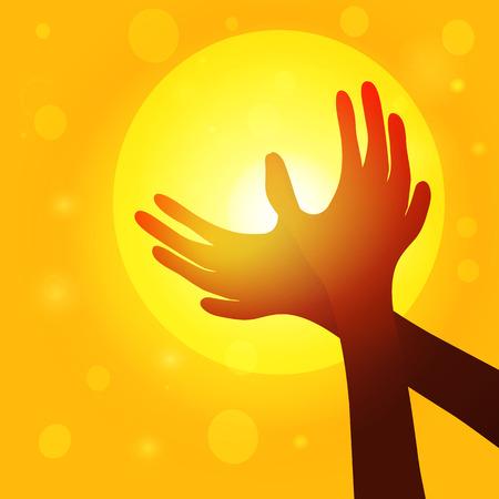 paix monde: Silhouette mains en forme de colombe sur fond de coucher de soleil, le concept de la paix mondiale. Vector EPS10. Illustration