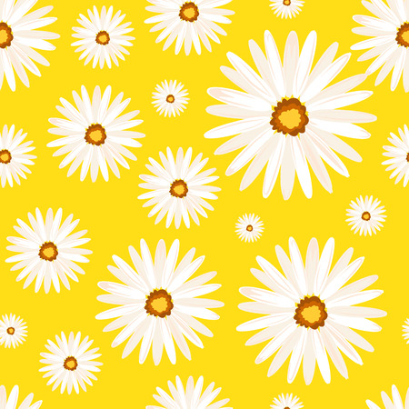 daisy wheel: Spring seamless background with camomile flowers. Vector EPS10.