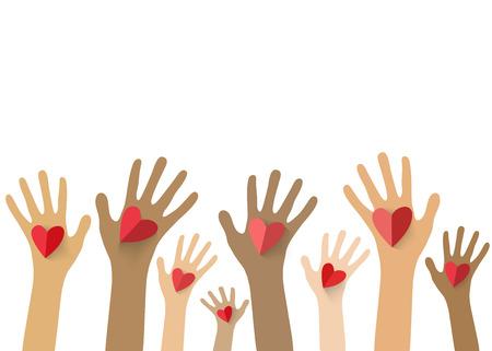 Collection des mains multicolores détenant coeur rouge. Vecteur EPS10.