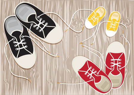 Sneakers on the hardwood floor of laces. Vector EPS10.