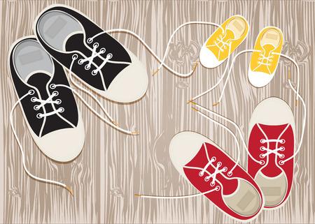 Zapatillas de deporte en el piso de madera de cordones. Vector EPS10. Vectores
