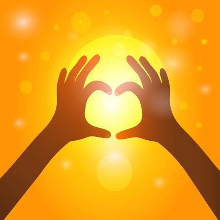 Silhouette hands  in heart shape on background of sunset. Vector EPS10.
