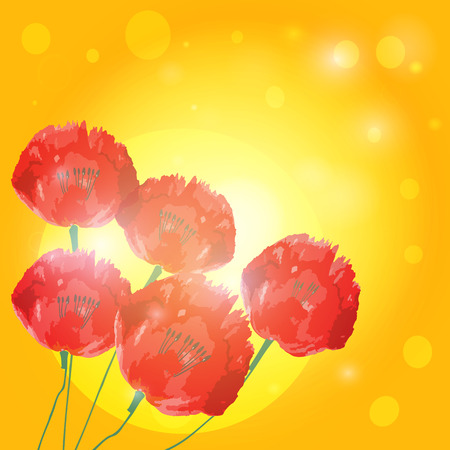 upgrowth: Poppy flowers on background of sunset. Vector EPS10.