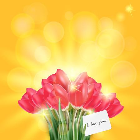 tulipe rouge: vecteur de printemps, un ensemble de tulipe rouge et l'herbe verte sous le soleil bokeh