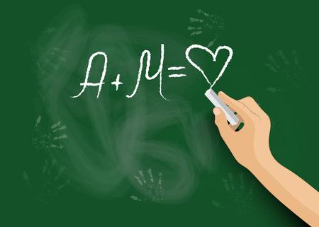 Hand writes on the blackboard a declaration of love