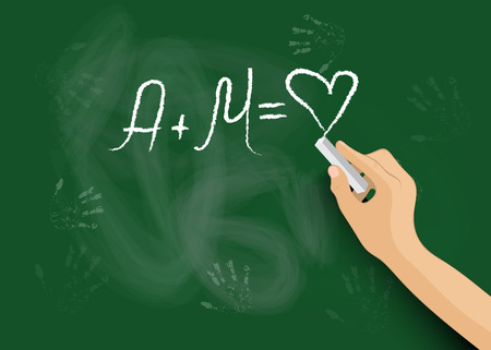 La mano escribe en la pizarra una declaraci�n de amor Vectores