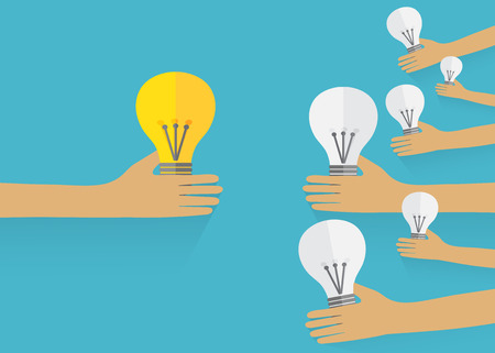 Teamwork management concept by Hands hold bulbs