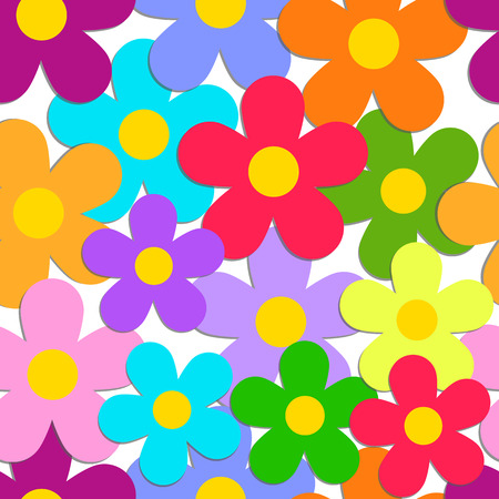 Seamless pattern with color flowers isolated on white.