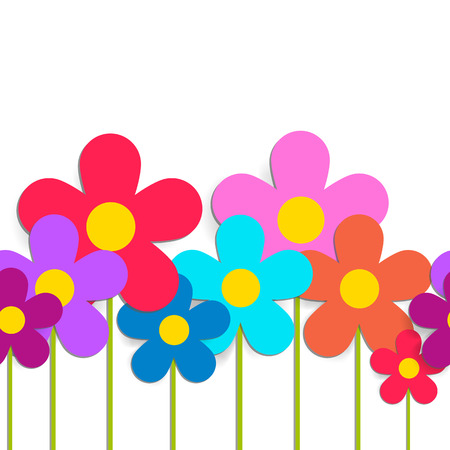 poppet: Seamless pattern with color flowers isolated on white. Vector EPS 10.