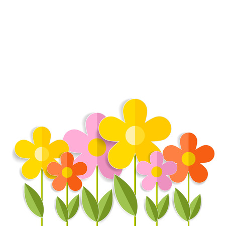 3d spring flowers isolated on white.