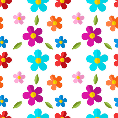 poppet: Seamless pattern with color flowers isolated on white background.  Illustration