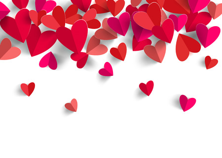 3D paper heart isolated in white background.  Greeting card. Vector EPS10. Illustration