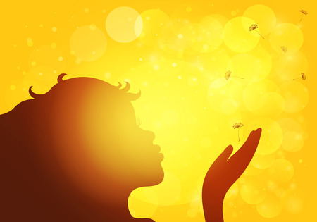 blows: Girl blowing dandelion seed in the rays of the sun. Vector EPS10.