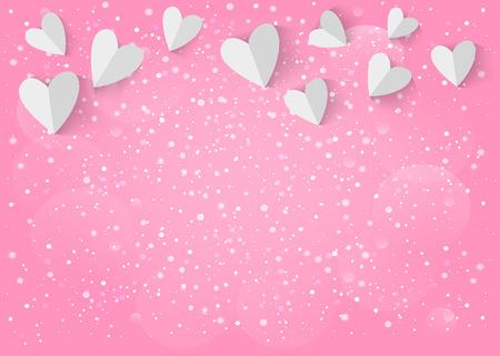 Biały papier 3d serca na różowym tle.