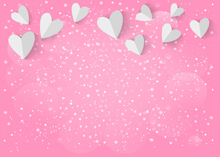 love background: White paper 3d heart on pink background.
