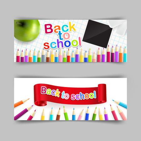 Conjunto de vectores de la escuela pancarta 400x150 para su dise�o. Volver a la escuela, la educaci�n concepto.