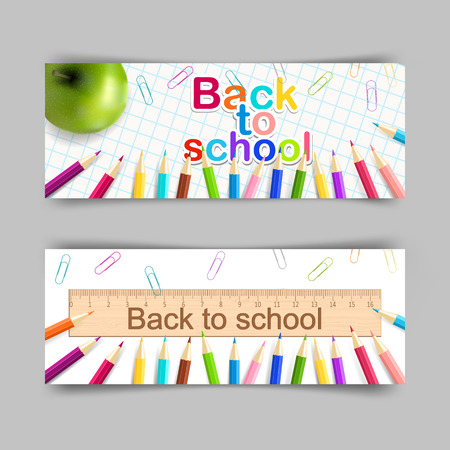 Vector set of school banner 400x150 for your design. Back to school, education concept.