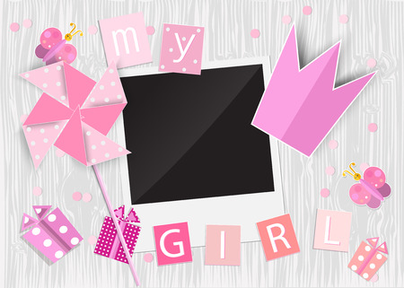 Greeting card for princess girl. Pinwheel, crown, gift box, photo frame, butterflies on wooden background. Vector EPS10.