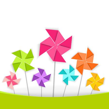Coloring cartoon pinwheel Vector