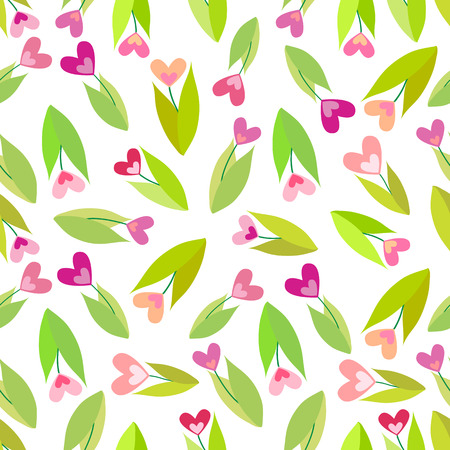 Seamless pattern with color flowers isolated on white background Illustration
