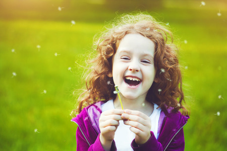 Child with white dandelion in your hand.   Stock Photo