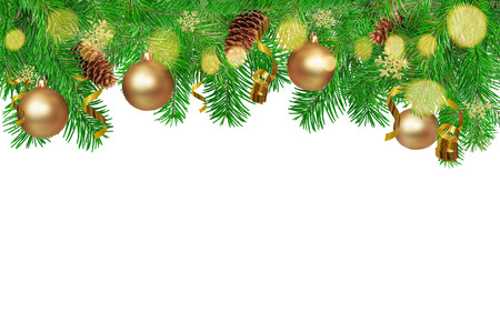 Christmas background. Green Fir tree branches with serpentine, pine cones, gold snowflakes, ball and bokeh. Isolated in white.
