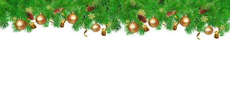 Christmas border for You website. Green Fir tree branches with serpentine, pine cones,  snowflakes and gold ball. Isolated on white. Standard-Bild