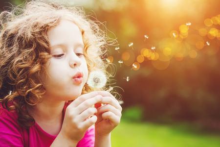 小さな巻き毛の少女吹いてタンポポ。 写真素材 - 54348701