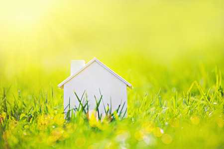 wooden toy: Toy wooden house in green grass on sunshine.  Soft focuse. Home concept.