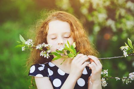 olfato: La muchacha disfruta el olor de la floración ramas de cerezo. el concepto de salud, médico o la ecología.