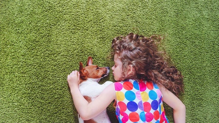 Cute child with puppy jack russell sleeping on the green carpet. High top view.