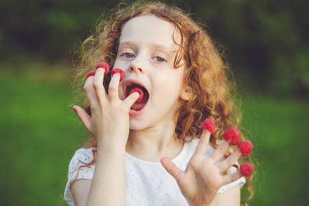 niña comiendo: Niña que come las frambuesas de los dedos.